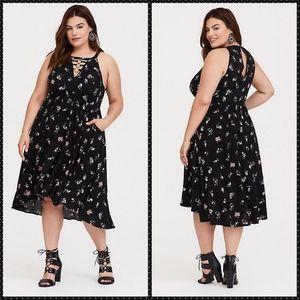 Torrid Black Floral O-Ring Challis Midi dress